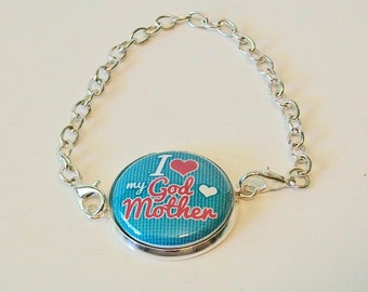 Bright Turquoise and Pink I Heart My Godmother Silver Chain Fashion Bracelet