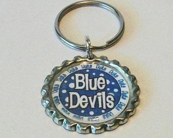 Blue and White Polka Dot Blue Devils Inspired Metal Flattened Bottlecap Keychain