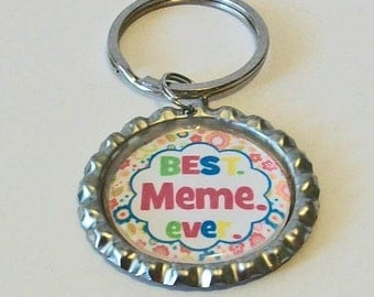 Colorful Best Meme Ever Grandmother Metal Flattened Bottlecap Keychain Great Gift
