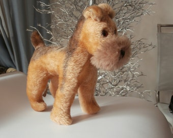 Vintage GRISLY FOX TERRIER,Western Germany,Collectible Mohair Toy,Eye Glass,Highly Collectible,Authentic Tag