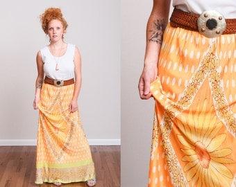 1960s Orange & White Busty Vintage Maxi Tank Dress With Daisy Dot Pattern - M - Boho - Hippie - Festival - Psychedelic - Goddess