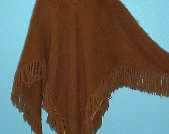 1960s Vintage Brown Mohair Hippie Boho Poncho — One Size
