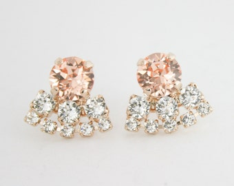 Bridal earrings,bridesmaid earrings,peach earrings,swarovski ,swarovski earrings,wedding jewelry,peach crystal earrings,peach jewelry,peach