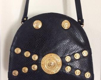 Medusa Handbag Black Faux Leather Shoulder Bag Cross Body Gold Tone Hardware 1990s Vintage