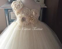 Ivory Flower Girl Dress-Flower Girl Tutu Dress-Lace Flower girl Dress-Junior Bridesmaid Dress-Baptism Dress-Christening Gown-Bridesmaid Dres