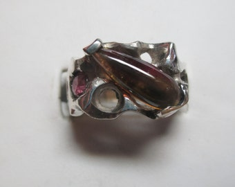Ladies 3.21 watertmelon tourmaline with .40ct ruby on the side in sterling silver modern ring