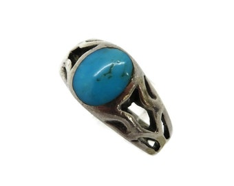 Turquoise Vintage Silver Ring, Sterling Cutout Band Ring, Size 6