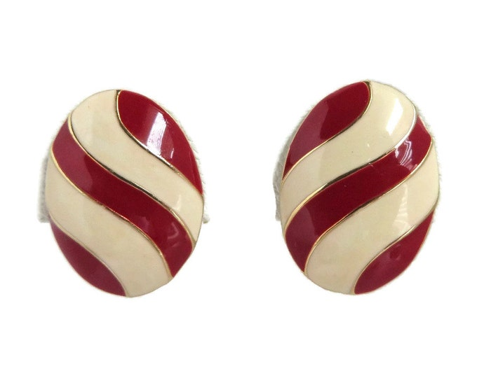 Napier Striped Earrings, Vintage Cream and Red Earrings, Oval Clip-on Earrings