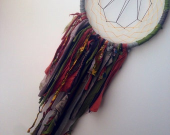 Ooak Earth Tones Triune Dreamcatcher - upcycled wall hanging