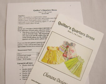 Quilters Fat Quarter Dress Pattern for Little Girls