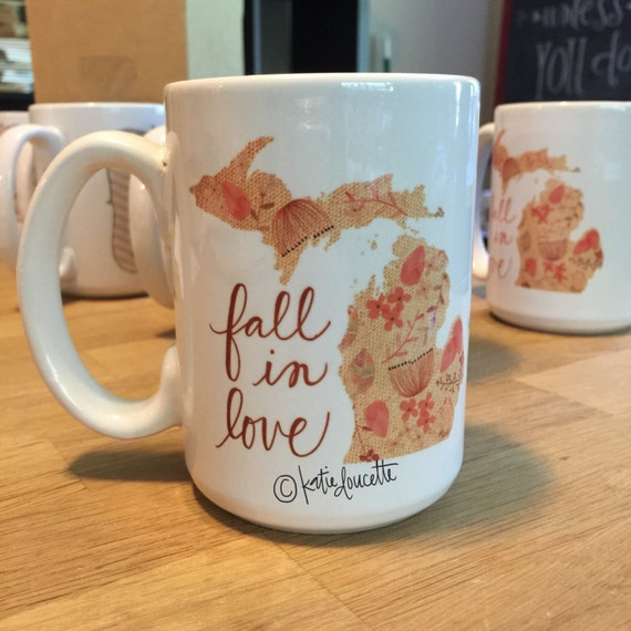 fall in love michigan Dishwasher Safe 15oz Ceramic Mug