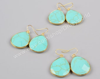 Wholesale Gold Plated Bezel Drop Howlite Turquoise Faceted Slice Dangle Earring Turquoise Jewelry Making Jewelry Turquoise Slice Beads G1001