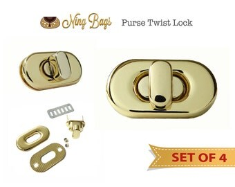 Set of 4 // Purse Turn Lock / Purse Twist Lock with Screws / Bag Hardware for Handbags, Purses, Totes (in Gold Finish)