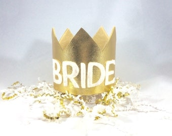 Metallic Bride Crown, Bachelorette Crown, Glitter Crown, Bridal Crown, Queen Crown, Gold Crown (Metallic Gold)