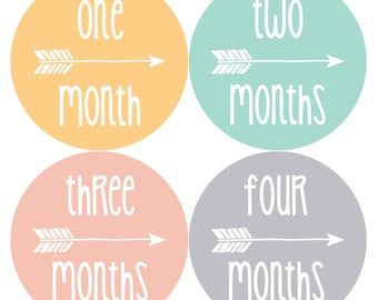 NEW Monthly Baby Sticker Month Stickers Monthly Baby Stickers Tribal Baby Month Stickers Arrows Milestone Stickers Photo Girl Boy 1076
