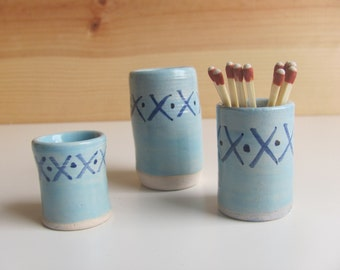 Handmade ceramic match striker - bright blue with dark blue pattern - match holder with strike plate