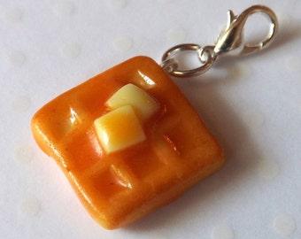 Waffle Charm, Food Charm, Polymer Clay Food, Miniature Food Jewelry, Stitch Marker, Polymer Clay Charm, Planner Charm