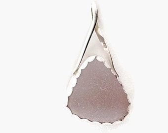 Lilac Sea Glass Pendant with Sterling Silver Chain, Bezel Set Beach Glass Necklace, Mothers Day Gift
