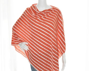 Modern Ruffle Poncho/ Scalloped Striped Nursing Poncho/ Breastfeeding Cover/ Nursing Shawl/ Maternity Top/ One Shoulder Top