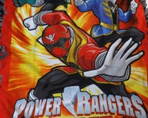 double layer tie micro fleece blanket made from Power Rangers Super Mega Force panel fleece with black backing