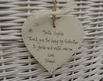 Godmother shabby wooden heart chic oersonalised Christening/Naming Day gift keepsake - 10cm