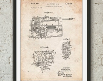Portable Jig Saw Patent Poster, Tools Art, Garage Decor, Man Gift, Unique Gifts for Dad, Man Cave, PP0957