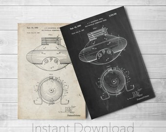 Vessel Printables, Jacques Cousteau Submersible Art, Life Aquatic Poster, Underwater Nursery, Bathroom Decor, Nautical Wall Art, PP0898