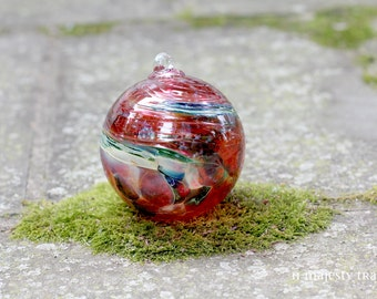 Artisan Glass Ball Ornament. Vintage. Orb. Handblown. Christmas. Tree Ornament. Home Decor. Friendship. Cranberry Pink, Green, Teal, Beige.