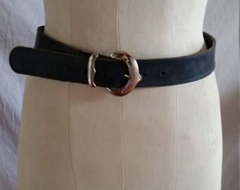 "Dark blue Leather belt silvertone buckle by EB Evelyn 32""/80cm"