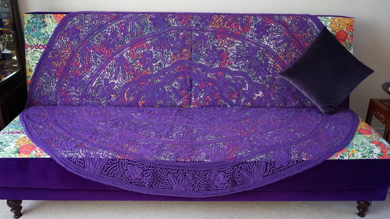 Purple Macram Bedspread Sofa Cover By Iulismagicfingers