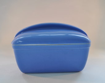 Vintage Hall Refrigerator Storage Loaf Dish. Cornflower Blue Glaze. 1950's Made in USA For Westinghouse. Retro Art Deco Airstream Design.