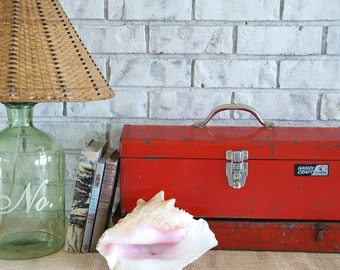Rusty Red Vintage Tool Boxes, Pair