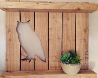 Pallet Wood Owl Shelf