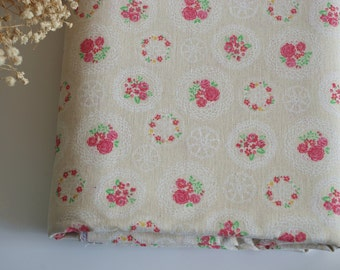 ZAKKA Village Cotton Linen Fabric  Printed with Rose Flowers ,for Bags,Table Runner ,Curtain Fabric ,Cushion Cover ETC--  Half Yard