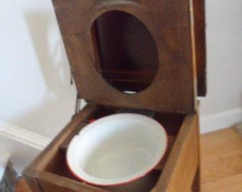 anitque wooden commode bedside   potty  chamber pot with enamel metal pot ?? will get proper shipping quote 4 u