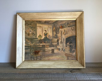 Vintage Oil Painting / Mid Century Oil Painting / Mid Century Art