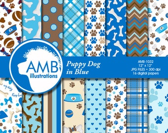 Puppy Dog Papers, Dog digital papers, Blue Dog Digital Backgrounds, Paws pattern papers, invites, card making and crafts, AMB-1032