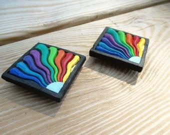 Hand Painted Rainbow Refrigerator Magnets