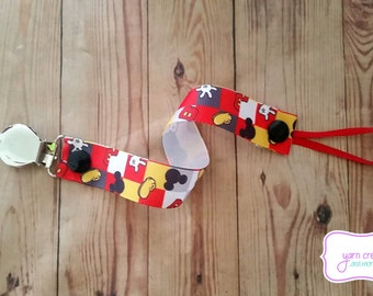 Pacifier Holder- Checkered Mickey Mouse Design