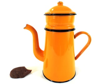 French Vintage Coffee Pot/French Vintage Orange Enamel Coffee Pot/French Vintage Enamel Coffee Pot