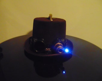 Steampunk Lighted Goggles Top Hat