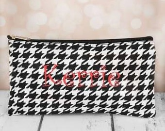 Monogram Houndstooth with Black Trim Pouch