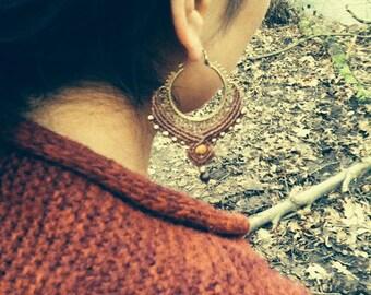 beautyful handmade gipsy tribal boho jewelry brass earrings with macramee