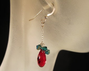 Red and green Swarovski crystal and sterling silver earrings