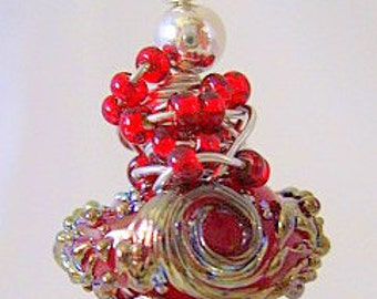 Red whirlwind lampwork and sterling silver earrings