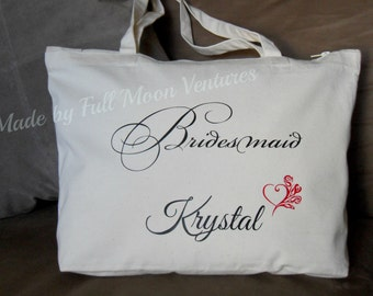 Bridesmaids canvas travel bag with zipper top, beige canvas tote , bridesmaids gift , canvas bag tote ,  18 x 14 x 4 (personalized )