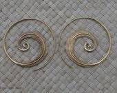 Frond Hoop earrings, Tribal Ethnic brass Earrings, Large hoop earrings.