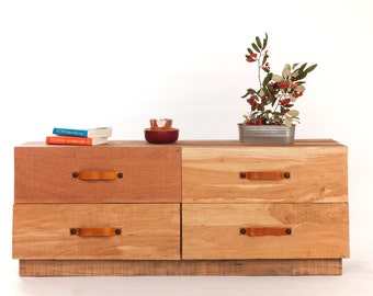 Furniture down 4 drawer wood leather