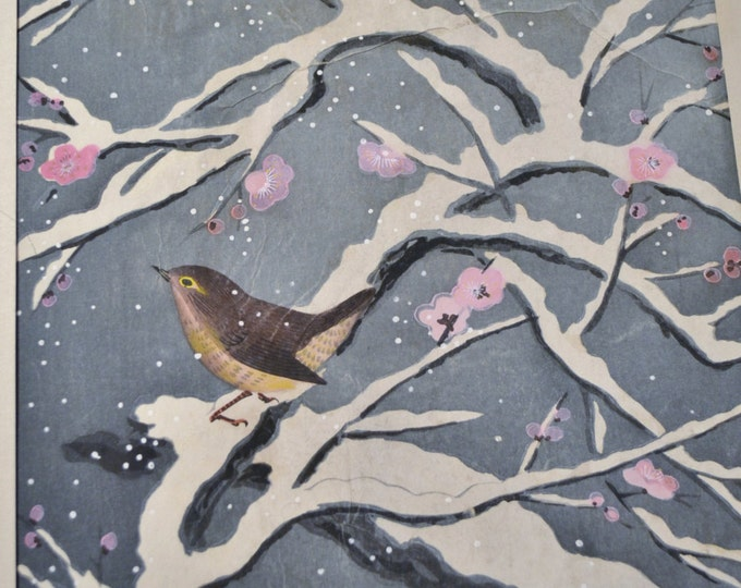 SOLD Bakufu Ohno Bird Cherry Blossom Branch Snow Woodblock Unframed Signed Japanese Asian Mid Century Art Panchosporch
