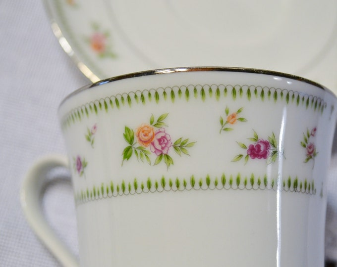 Vintage Abingdon Fine China Cup and Saucer Floral Design Japan Bridal Baby Shower PanchosPorch